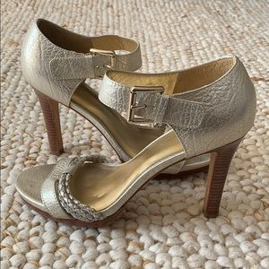 COACH Silver Sandal Heels Size 10
